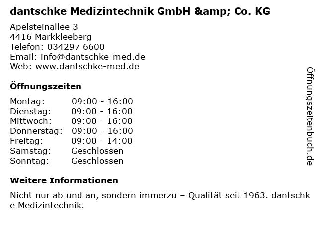 dantschke Medizintechnik GmbH & Co. KG in Markkleeberg: Adresse und Öffnungszeiten