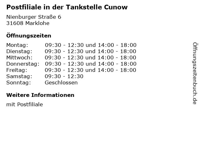 Postfiliale in der Tankstelle Cunow in Marklohe: Adresse und Öffnungszeiten