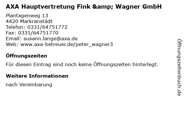 AXA Hauptvertretung Fink & Wagner GmbH in Markranstädt: Adresse und Öffnungszeiten