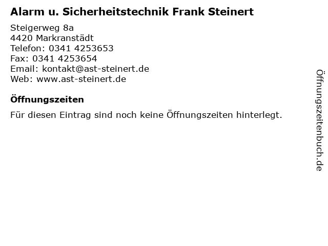 Alarm u. Sicherheitstechnik Frank Steinert in Markranstädt: Adresse und Öffnungszeiten