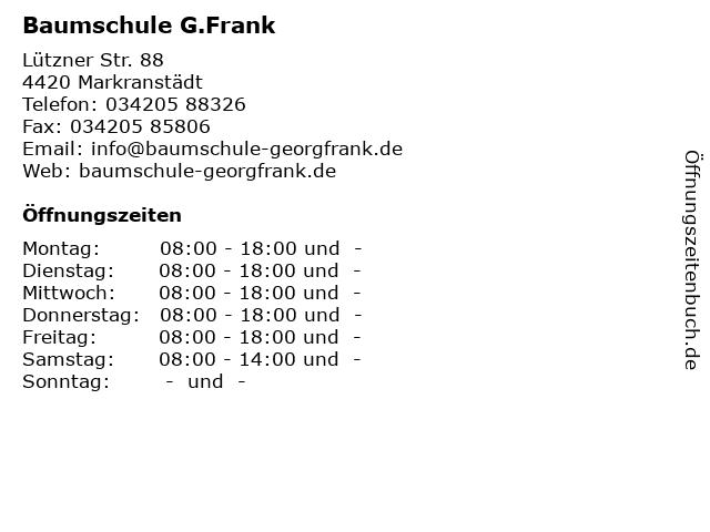 Baumschule G.Frank in Markranstädt: Adresse und Öffnungszeiten