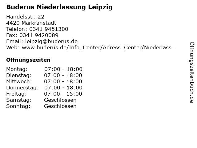 Buderus Niederlassung Leipzig in Markranstädt: Adresse und Öffnungszeiten