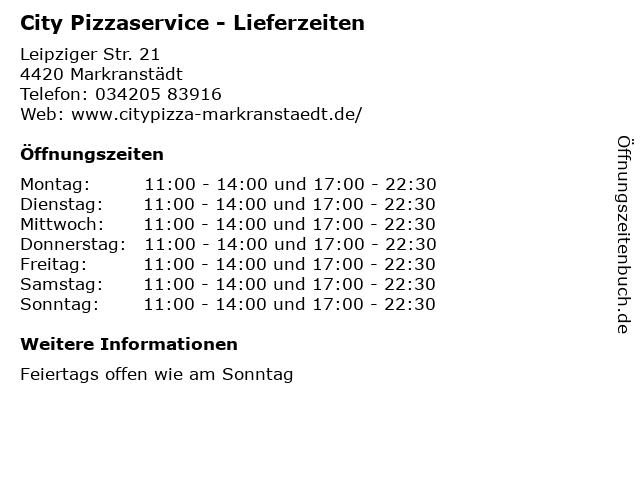 City Pizzaservice - Lieferzeiten in Markranstädt: Adresse und Öffnungszeiten