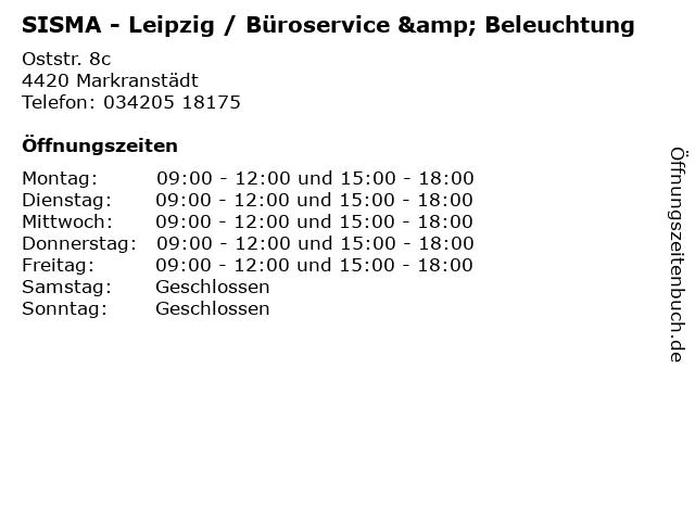 SISMA - Leipzig / Büroservice & Beleuchtung in Markranstädt: Adresse und Öffnungszeiten