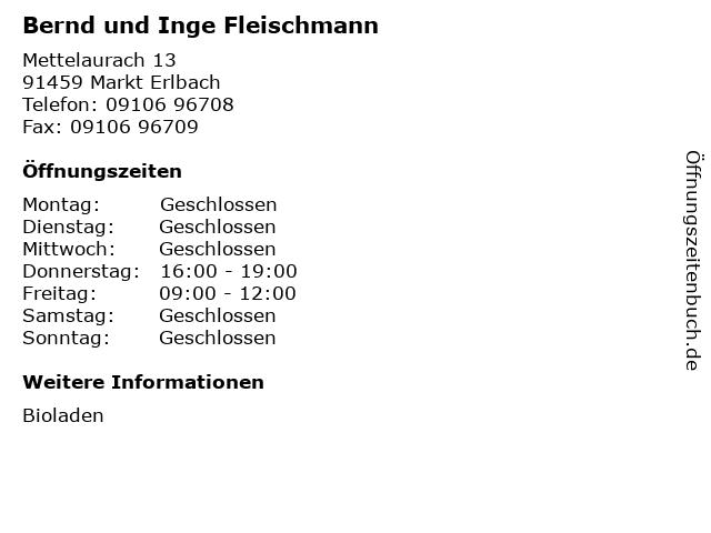 Bernd und Inge Fleischmann in Markt Erlbach: Adresse und Öffnungszeiten
