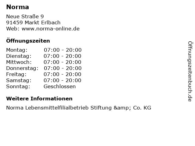 Norma in Markt Erlbach: Adresse und Öffnungszeiten