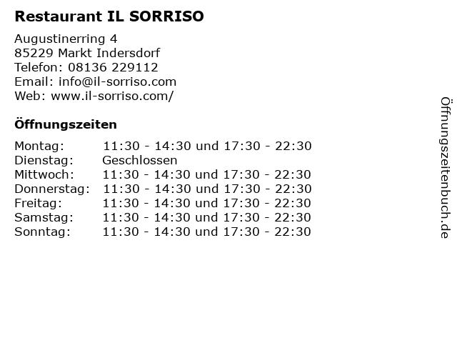 Restaurant IL SORRISO in Markt Indersdorf: Adresse und Öffnungszeiten