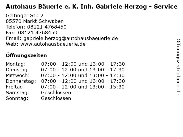 Autohaus Bäuerle e. K. Inh. Gabriele Herzog - Service in Markt Schwaben: Adresse und Öffnungszeiten