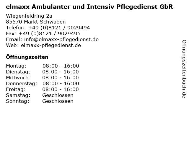 elmaxx Ambulanter und Intensiv Pflegedienst GbR in Markt Schwaben: Adresse und Öffnungszeiten