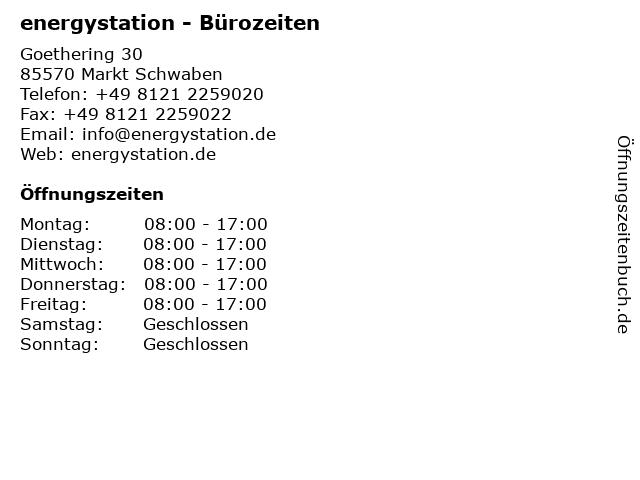 energystation - Bürozeiten in Markt Schwaben: Adresse und Öffnungszeiten
