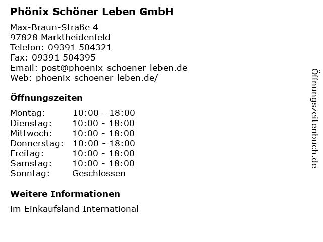ᐅ öffnungszeiten Phönix Schöner Leben Gmbh Max Braun Straße 4