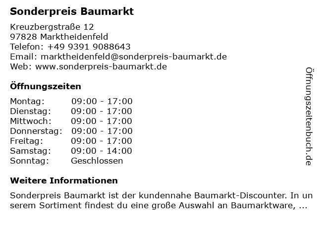 ᐅ Offnungszeiten Sonderpreis Baumarkt Kreuzbergstrasse 12 In