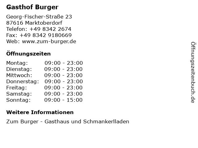 Gasthof Burger in Marktoberdorf: Adresse und Öffnungszeiten