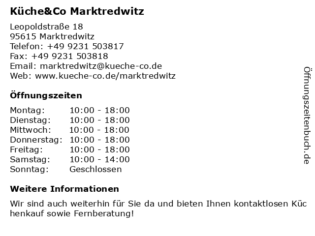 Küche&Co Marktredwitz in Marktredwitz: Adresse und Öffnungszeiten