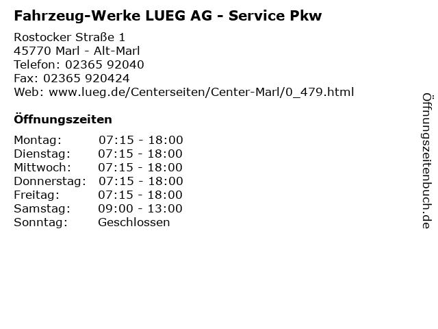Fahrzeug-Werke LUEG AG - Service Pkw in Marl - Alt-Marl: Adresse und Öffnungszeiten