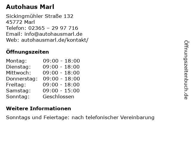 Autohaus Marl in Marl: Adresse und Öffnungszeiten