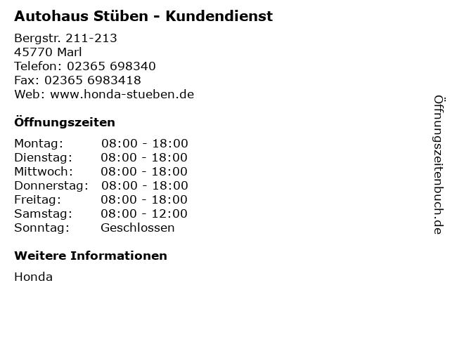Autohaus Stüben - Kundendienst in Marl: Adresse und Öffnungszeiten