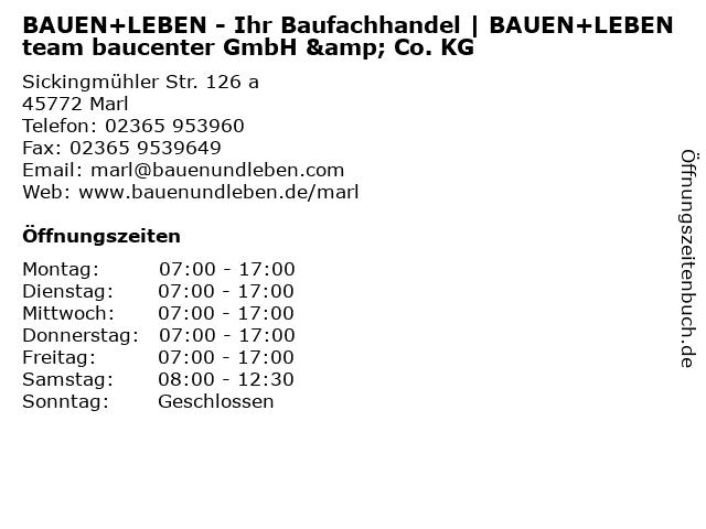 BAUEN+LEBEN - Ihr Baufachhandel   BAUEN+LEBEN team baucenter GmbH & Co. KG in Marl: Adresse und Öffnungszeiten