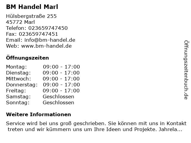 BM Handel Marl in Marl: Adresse und Öffnungszeiten