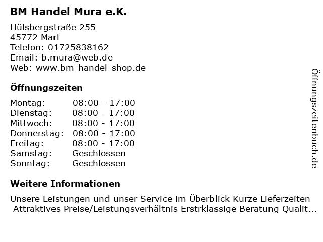 BM Handel Mura e.K. in Marl: Adresse und Öffnungszeiten