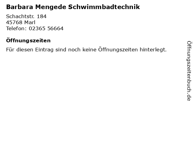 Barbara Mengede Schwimmbadtechnik in Marl: Adresse und Öffnungszeiten