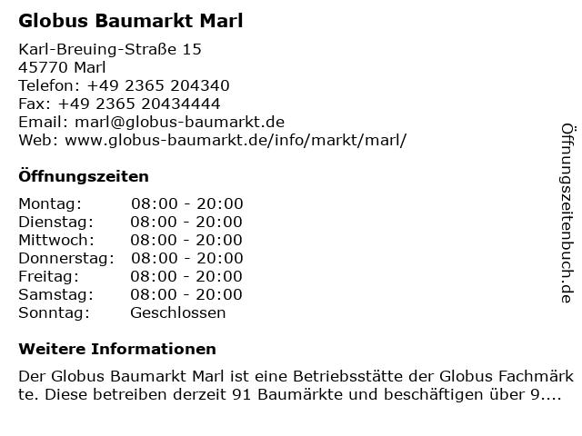 Globus Baumarkt Marl in Marl: Adresse und Öffnungszeiten