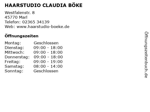 HAARSTUDIO CLAUDIA BÖKE in Marl: Adresse und Öffnungszeiten