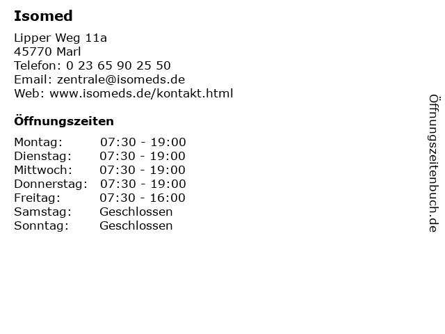 Isomed in Marl: Adresse und Öffnungszeiten