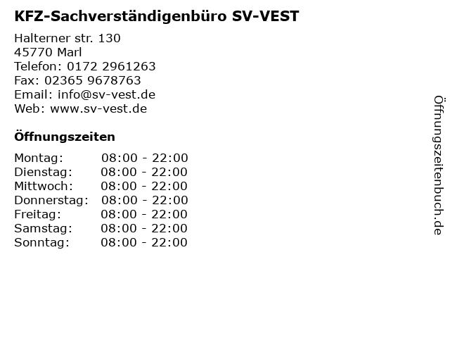 KFZ-Sachverständigenbüro SV-VEST in Marl: Adresse und Öffnungszeiten