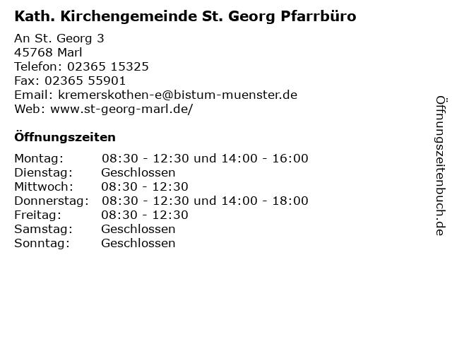 Kath. Kirchengemeinde St. Georg Pfarrbüro in Marl: Adresse und Öffnungszeiten
