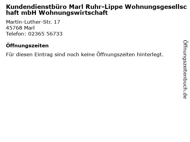 Kundendienstbüro Marl Ruhr-Lippe Wohnungsgesellschaft mbH Wohnungswirtschaft in Marl: Adresse und Öffnungszeiten