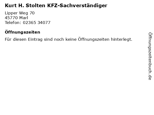 Kurt H. Stolten KFZ-Sachverständiger in Marl: Adresse und Öffnungszeiten