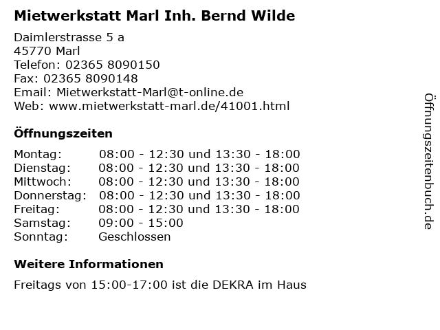 Mietwerkstatt Marl Inh. Bernd Wilde in Marl: Adresse und Öffnungszeiten