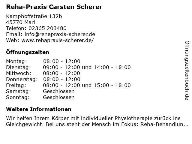 Reha-Praxis Carsten Scherer in Marl: Adresse und Öffnungszeiten
