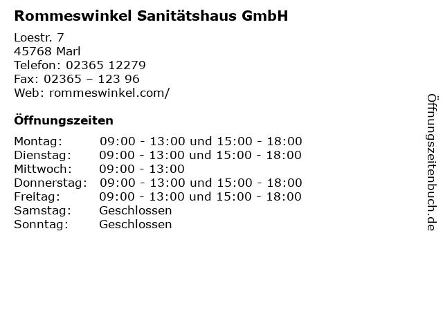 Rommeswinkel Sanitätshaus GmbH in Marl: Adresse und Öffnungszeiten