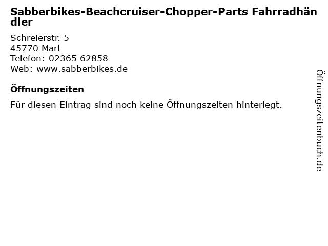 Sabberbikes-Beachcruiser-Chopper-Parts Fahrradhändler in Marl: Adresse und Öffnungszeiten