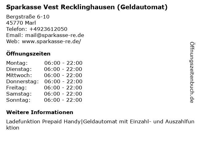 Sparkasse Vest Recklinghausen - (Geldautomat Hauptstelle) in Marl: Adresse und Öffnungszeiten