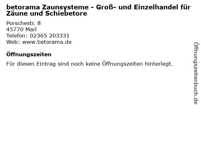 betorama Zaunsysteme - Groß- und Einzelhandel für Zäune und Schiebetore in Marl: Adresse und Öffnungszeiten