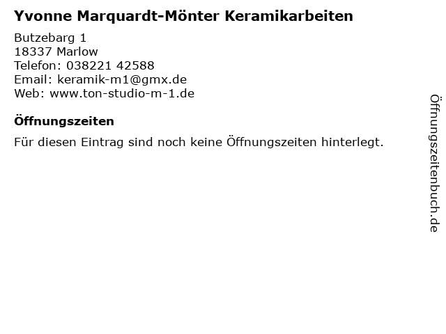 Yvonne Marquardt-Mönter Keramikarbeiten in Marlow: Adresse und Öffnungszeiten
