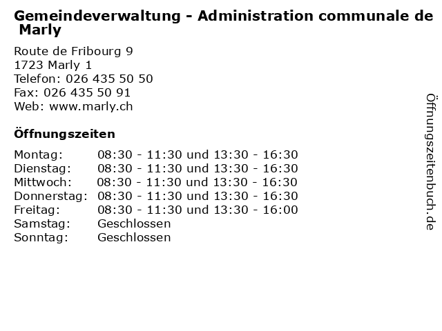Gemeindeverwaltung - Administration communale de Marly in Marly 1: Adresse und Öffnungszeiten