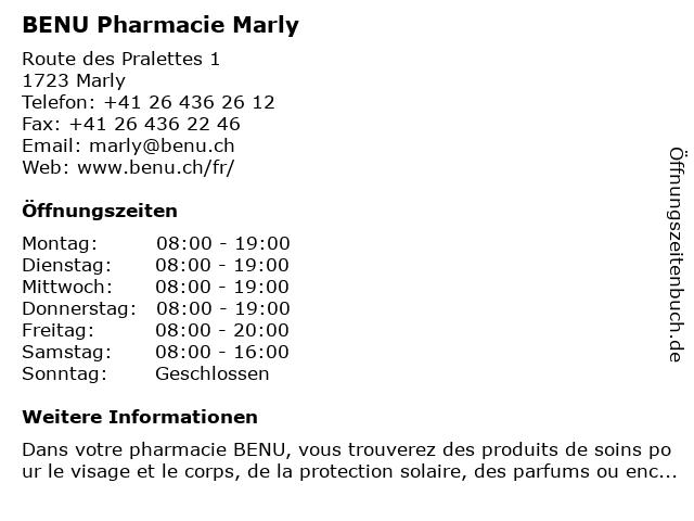 BENU Pharmacie Marly in Marly: Adresse und Öffnungszeiten
