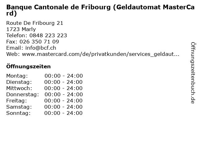 Banque Cantonale de Fribourg (Geldautomat MasterCard) in Marly: Adresse und Öffnungszeiten