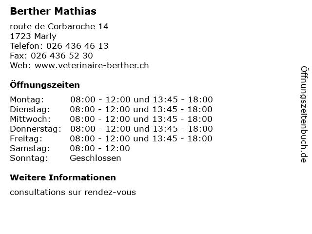 Berther Mathias in Marly: Adresse und Öffnungszeiten