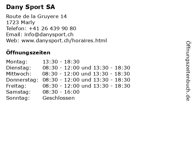 Dany Sport SA in Marly: Adresse und Öffnungszeiten