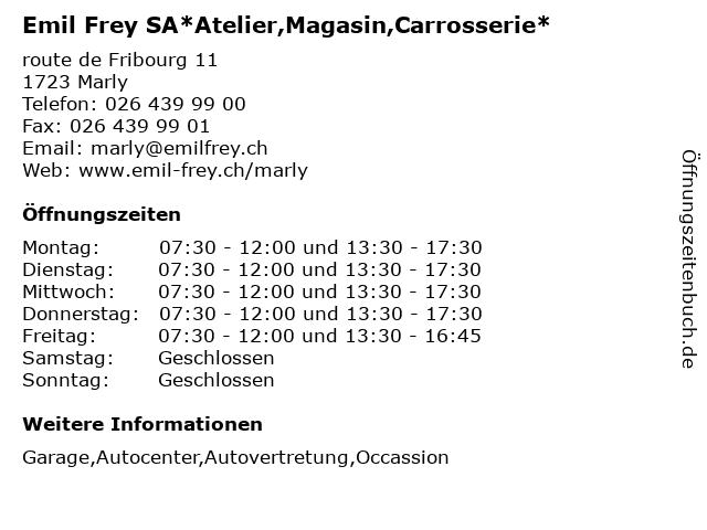 Emil Frey SA*Atelier,Magasin,Carrosserie* in Marly: Adresse und Öffnungszeiten