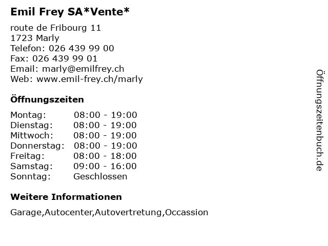 Emil Frey SA*Vente* in Marly: Adresse und Öffnungszeiten