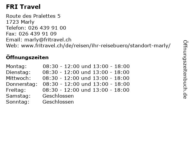 FRI Travel in Marly: Adresse und Öffnungszeiten