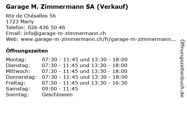 Garage M. Zimmermann SA (Verkauf) in Marly: Adresse und Öffnungszeiten