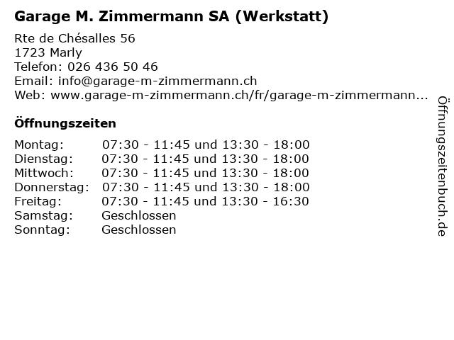 Garage M. Zimmermann SA (Werkstatt) in Marly: Adresse und Öffnungszeiten