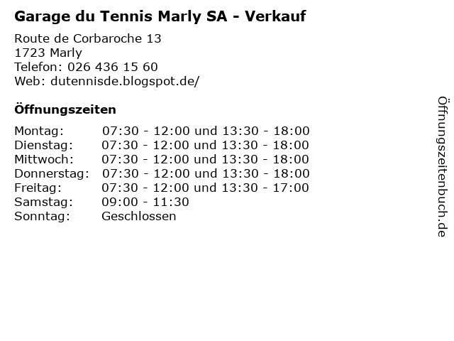 Garage du Tennis Marly SA - Verkauf in Marly: Adresse und Öffnungszeiten